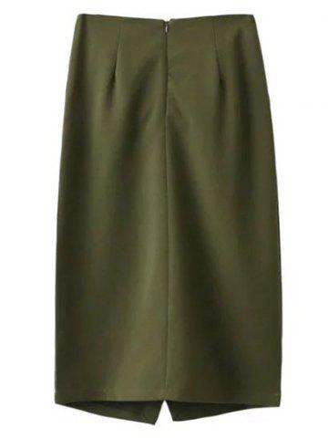 Discount Tied Front Slit Asymmetric Skirt - M ARMY GREEN Mobile