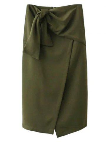 Online Tied Front Slit Asymmetric Skirt - M ARMY GREEN Mobile