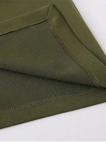 Unique Tied Front Slit Asymmetric Skirt - M ARMY GREEN Mobile