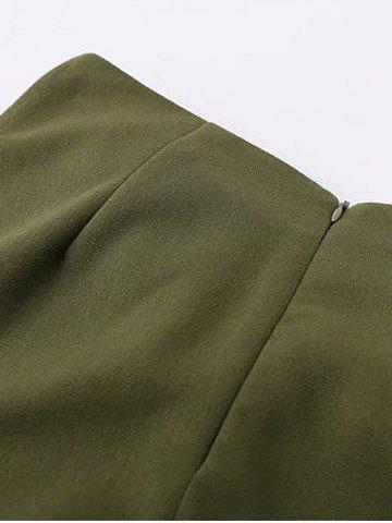 Unique Tied Front Slit Asymmetric Skirt - S ARMY GREEN Mobile