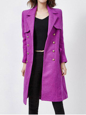 Wool Blend Double-Breasted Long Trench Coat with Belt   - Purple - L
