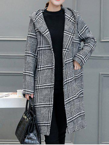 Latest Houndstooth Hooded Wool Blend Coat