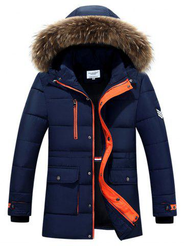 Furry Hood Color Block Zip-Up Padded Coat - Blue - M