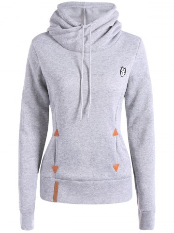 Sale Patched Casual Hoodie - LIGHT GRAY L Mobile