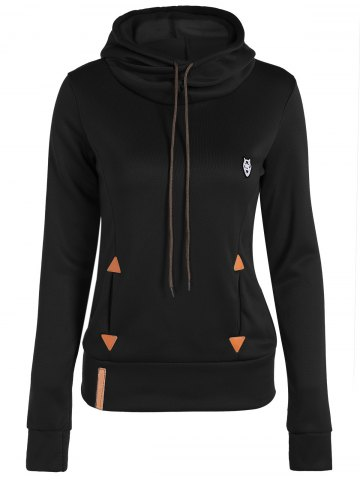 Sale Patched Casual Hoodie - BLACK L Mobile
