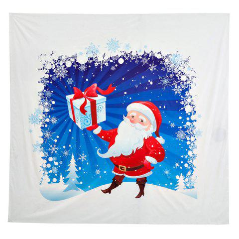 Funny Christmas Santa Claus Distributed Gifts Print Square Beach Throw - White - One Size