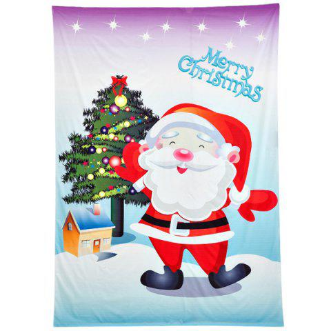 Funny Christmas Santa Claus Print Rectangle Beach Throw - Purple - One Size