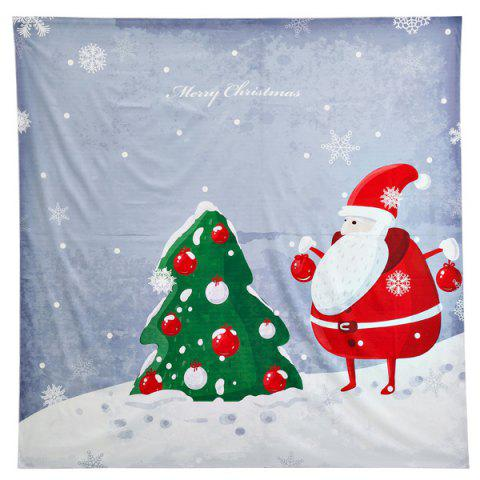 Funny Christmas Santa Claus Print Square Beach Throw - Gray - One Size