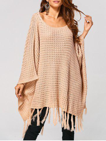Hollow Out Tassels Handkerchief Cape Sweater - Apricot - S