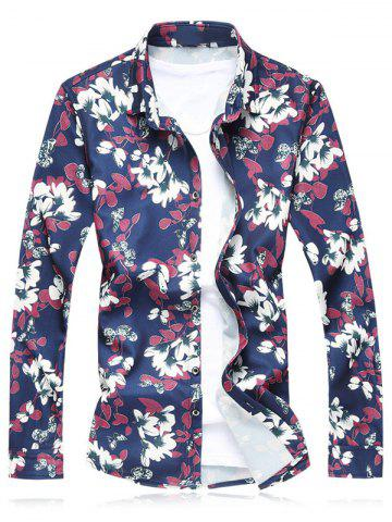 Store Plus Size Flower Leaves Print Long Sleeve Shirt RED 3XL
