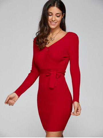 Tight Short Knit Long Sleeved Surplice Dress - Red - One Size