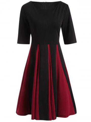 Sale Color Block Fit and Flare Pleated Dress BLACK 2XL