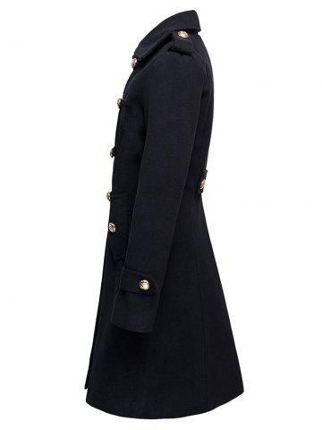 Buy Double-Breasted Woolen Long Coat - XL BLACK Mobile