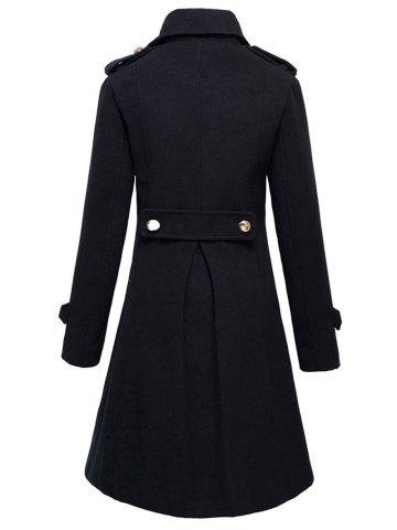 Fashion Double-Breasted Woolen Long Coat - XL BLACK Mobile