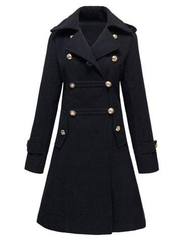 Hot Double-Breasted Woolen Long Coat BLACK S