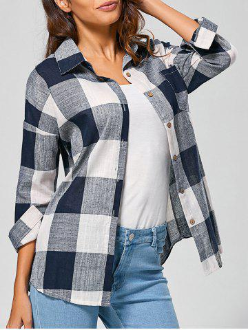 New Casual Long Sleeve Checkered BF Linen Shirt