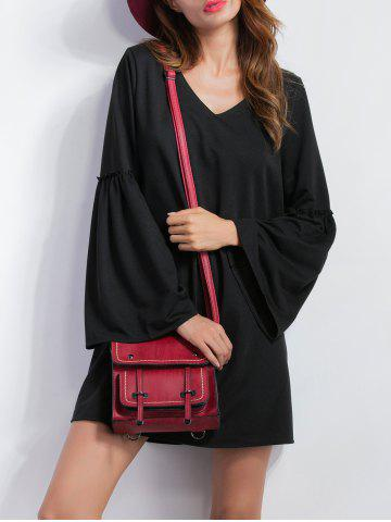 New V Neck Bell Sleeve Shift Mini Dress BLACK XL