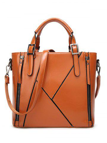Fashion Zippers Buckles PU Leather Tote Bag BROWN