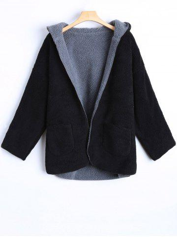 Hooded Double Side Cashmere Overcoat - Black - 2xl
