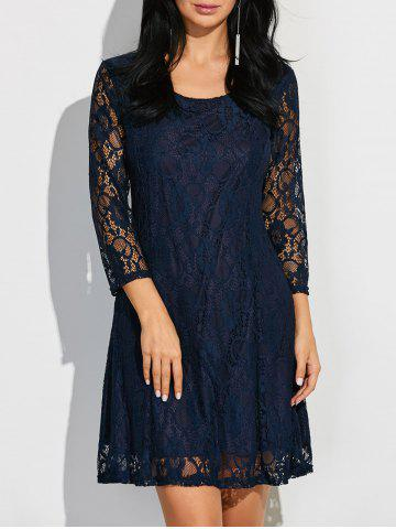 Fashion Scoop Neck Three Quarter Sleeve Lace Dress