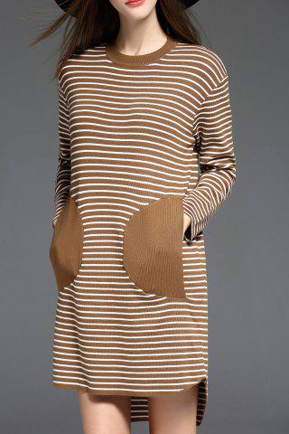 Long Sleeve Striped Sweater Shift Dress - Camel - One Size