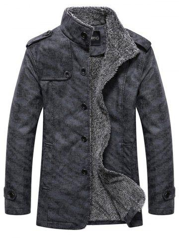 Shops Stand Collar Single-Breasted Epaulet Embellished Jacket DEEP GRAY XL