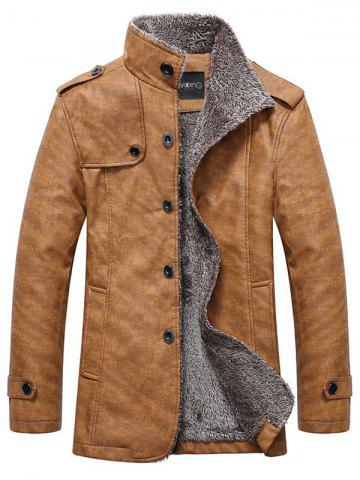 Outfits Stand Collar Single-Breasted Epaulet Embellished Jacket