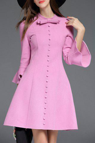 New Bow Collar Bell Bottom Sleeve Dress