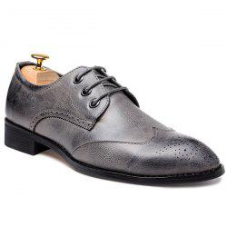 Pointed Toe Tie Up Gravure Formal Shoes - Gris 41