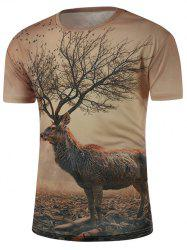 Round Neck 3D Abstract Deer Print Short Sleeve T-Shirt