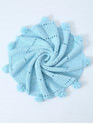 Pompon Edge Hollow Out Crochet Knit Round Blanket - LIGHT BLUE