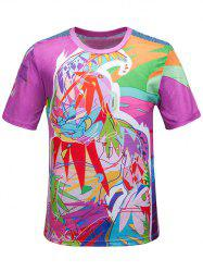 Col rond 3D Color Block Scrawl Imprimer manches courtes T-shirt - Multicolore