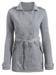 Double-Breasted Fitted Belted Overcoat - GRAY L
