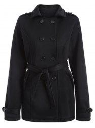 Double-Breasted Fitted Belted Overcoat - BLACK 3XL
