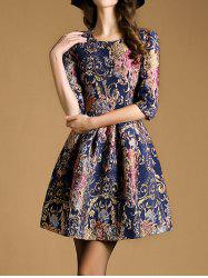 Zipper Up Jacquard Fit and Flare Dress -