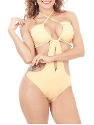 Open Back Keyhole Halter One-Piece Swimsuit