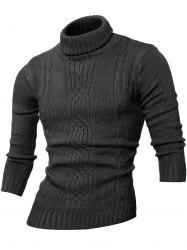 Long Sleeve Rib-Hem Turtleneck Cable-Knit Sweater