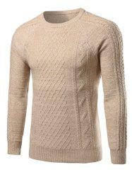 Heathered Geometric Pattern Raglan Sleeve Sweater - BEIGE 2XL