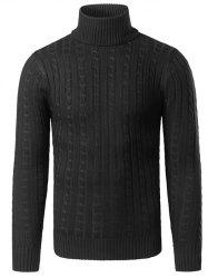 Rib-Hem Turtleneck Twist Striped Sweater