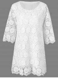 Floral Overlay Lace Cocktail Dress -