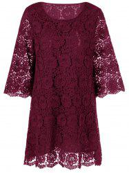 Lace Floral Overlay 3/4 Sleeve Dress - WINE RED
