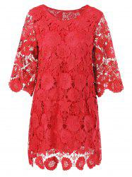 Lace Floral Sheer Shift Cocktail Dress -