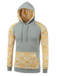 Ornate Printed Kangaroo Pocket Raglan Sleeve Hoodie