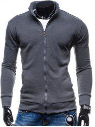 Stand Collar Zip-Up Fleece Jacket - DEEP GRAY
