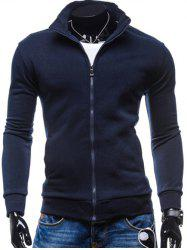 Stand Collar Zip-Up Fleece Jacket