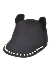 Adjustable Faux Pearls Cat Ear Animal Sun Hat