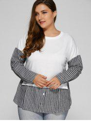 Loose Stripe Spliced Blouse