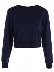 Long Sleeve Casual Sports Cropped Sweatshirt - PURPLISH BLUE