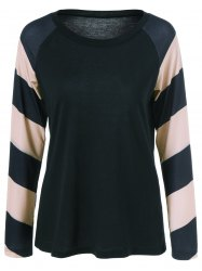 Striped Patchwork Raglan Sleeve T-Shirt -