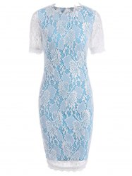 Color Block Openwork Lace Hook Pencil Dress - BLUE